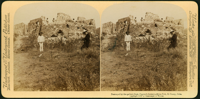 Destroyed by the gallant Capt. Capron's Battery-Stone Fort, El Caney, Cuba